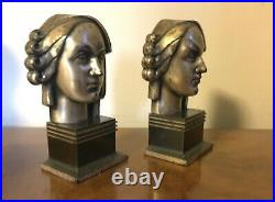 Pair Period 1930's Art Deco Bookends Woman's Head Egyptian Sculpture Style
