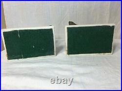 Pair Vintage Bookend Dog Figurine Marble Base Dark Green Cocker Spaniel Art Deco