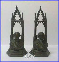 Pair Vintage Bronze Gothic Cathedral Bookends, Male Portrait Bust