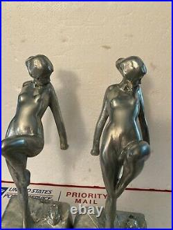 Pair Vintage Frankart Frank Art Nude Nymph Woman Girl with Frog Bookends Deco USA