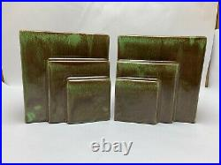 Pair Vtg West Coast Pottery California Art Deco #116 Green & Brown Bookend Vases