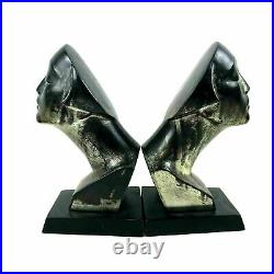 Pair of Art Deco Cast Metal Bust Sculpture of Kissing Face Silver Finish Bookend