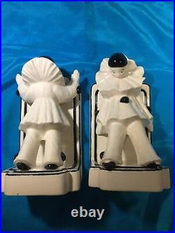 Pair of Art Deco Pierrot French Clown Bookends, Porcelain, Pierrot, Clown Theme
