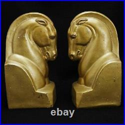 Pair of Art Deco Plaster Horse Head Bookends Circa 1940