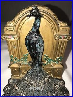 Pair of Bookends Art Deco Nouveau Peacocks Metal Marked 501 Peacock Hand Painted