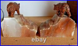 Pair of Cold Painted Spelter Bear Bookends on Marble Bases Art Deco Period