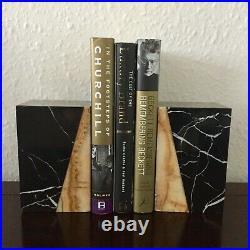 Pair of Vintage Antique Art Deco Marble Bookends Black/White/Cream