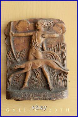 RARE! PAIR ART DECO ARTEMIS THE HUNTRESS BOOK ENDS! GREYHOUND 20's 30's GODDESS