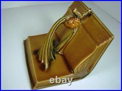 ROSEVILLE Art Pottery Gorgeous SINGLE PINECONE Bookend 1-4 Tan Art-Deco