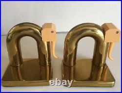 Rare 30's Deco Chase Walter Von Nessen Elephant Bookends Brass & Bakelite