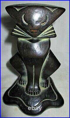 Rare Antique Armor Bronze Clad Bookends Art Deco Cubist Cat Kitten Statue Hubley