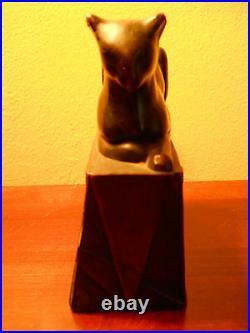 Rare Antique Art Deco Pompeian Bronze Egyptian Cat Bookend Great Bronze Patina