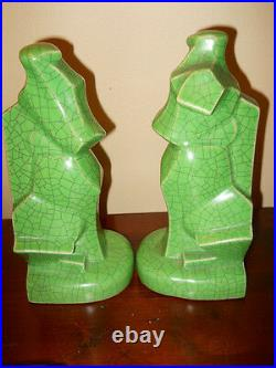 Rare Antique Art Deco Pottery Scotty Dogs Crackle Glaze Cubism Bookendsmint