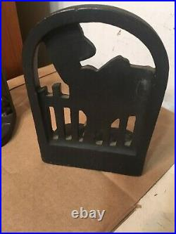 Rare Antique Cast Iron March Girl Bookends With Terrier Dog & Cat Art Deco