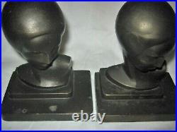 Rare Antique Frankart USA Art Deco Lady Bust Head Statue Sculpture Book Bookends