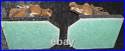 Rare Art Deco Horse Head Bookends Sculptured Copper On Marble