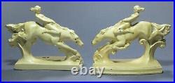 Rare Art Deco NUART Cast Nude Diving Horse Bookends Signed ca. 1925 Frankart Era