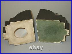 Rare Cowan Pottery Art Deco Modernist Gear or Cogwheel Bookends Black & Silver