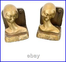 Rare NUART Art Deco Figure Bookends Signed ca. 1920-30's Frankart Ronson Era