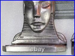 Rare Pair Bookends Signed Rodden 1934 Art Deco Machine Age Bauhaus Frankart Era