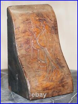 Rare Pair Of Antique Japanese Samurai Leather Bookends Decorative Asprey London