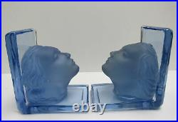 Rare Pair Vintage New Martinsville Solid Glass Blue Art Deco Lady Head Bookends