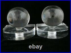 Rare Steuben Art Glass Walter Dorwin Teague Art Deco Globe Bookends c 1930