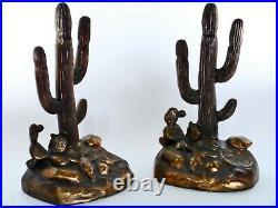 Rare Vintage MCA 1949 Cactus Desert Art Deco Bronze Bookends