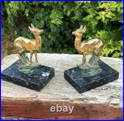 Retro Vintage Deer Art Deco Stunning Animal Wild Figurine Book Ends
