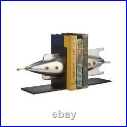 Rocket Bookends Polished Aluminum Brass Iconic Atomic Age