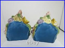 Rookwood Pottery Flower Basket Bookends 1928 #2837 Designer Shirayamadi