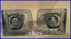 Scarce Bagley & Co. Art Deco Blue Glass Owl Book Ends 1930's, Perfect