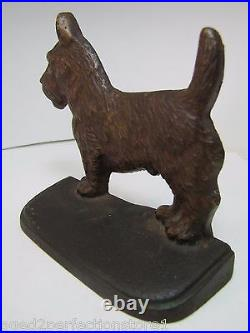 Scottie Dog Antique Cast Iron Bookend Doorstop Decorative Art Statue Old Paint