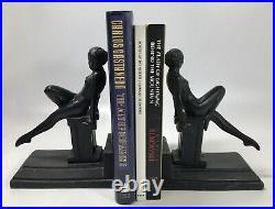 Set Art Deco Nude Woman Bookends Black Spelter Metal Statue Leg Out Elegant Lady