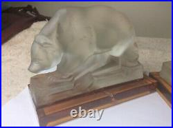 Ultra Rare Pair Of Art Deco August Walther & Sohne Glass Bear / Eisbar Bookends