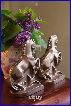 VINTAGE ART DECO GALLOPING ROMAN HORSE BOOK ENDS c1920-40 CAST METAL BRASS 4W