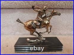 VINTAGE Art Deco Jennings Bros Polo Player Atop Horse Statue Figure Bookend 6