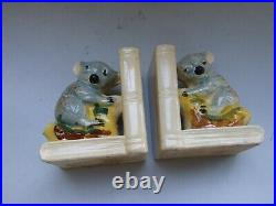 VINTAGE PAIR AUSTRALIAN POTTERY KOALA BOOKENDS H/PAINTED 1950's COLLECTABLES