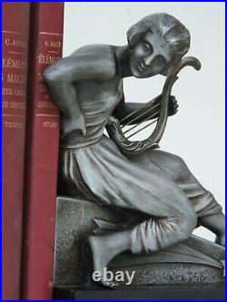 Van De Voorde French Art Deco Buchstützen Skulptur Figur Metall Marmor Bookends