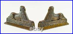 Very Rare Egyptian Revival Art Deco Sphinx Metal Bookends- Gorgeous, Unusual