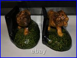 Very Rare Vintage 1920's Cliftwood Art Pottery Roaring Lion Standing Bookends