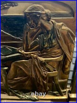 Vintage 1925 POMPEIAN BRONZE CO. Knowledge Bookends Art Nouveau Deco Woman Desk