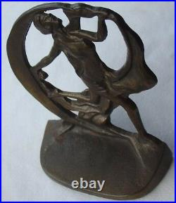 Vintage 1930 Creation Co Art Deco Dancing Lady Woman with Cresent Moon Bookends
