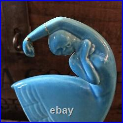 Vintage 1930's Art Deco Blue Amaco Pottery Flamenco Dancer Pair Figurine Bookend