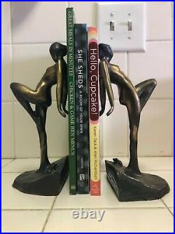 Vintage 1982 Pair of Brass Art Deco Frankart Nude Nymphs Book Ends With Frogs