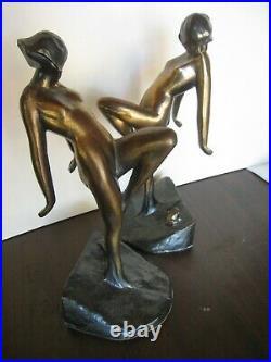 Vintage 1982 Pair of Metal Art Deco Frankart Sarsaparilla Nude bookends