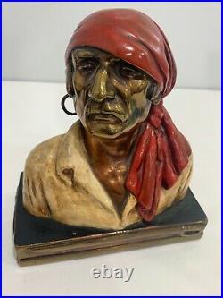 Vintage Antique Art Deco Marion Bronze Clad Pirate Buccaneer Pair of Bookends
