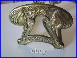 Vintage Antique Art Nouveau Book Holder Ends Bookends Metal Sculpture Woman Deco