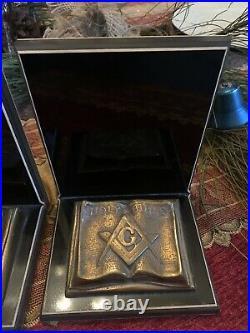 Vintage Antique Bronze Freemason Bible Bookends Heavy 3 LBS Each Art Deco Mason