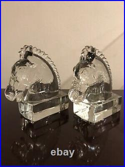 Vintage Art Deco 1930s Heisey Clear Crystal Glass Horse Head Bookends 7